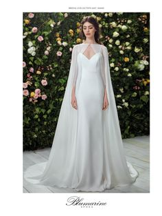 The wedding dress is filled with delicately feminine details. Which is irresistibly romantic bridal collection features elegant wedding dresses. Click the picture to see more beautiful dresses. Muslim Wedding Dresses, Bridal Dresses, Goddess Wedding Dresses, Best Wedding Dresses, Wedding Outfits, Pretty Dresses, Beautiful Dresses, Bridal Cape, Wedding Dress Cape