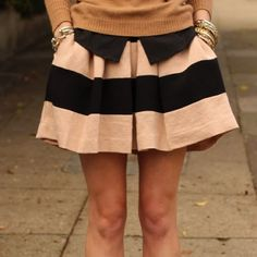 Pink and black striped high waisted skirt Multi seasonal black and soft pink striped skirt. This skirt sits at your true waist and is adorable styled in so many ways. Soft wool fabric. Lightly worn in like new condition. BCBGeneration Skirts Midi