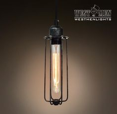 Westmenlights Industrial Vintage Pendant light Metal Hanging Cord Lamp Long Cage Rustic Pendant Lamp CUTUB