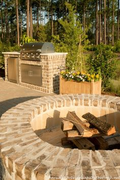 Fire pit for cool fall evenings...2014 Southern Living Idea House in Bluffton, South Carolina