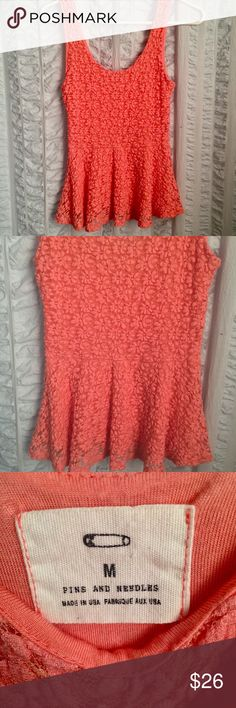 """UO  Pins and Needles Lace Peplum Top Urban Outfitters beautiful coral textured Peplum top with floral Embroidered throughout top layer. So perfect for summer! This color looks amazing on everyone. Size medium. Measurements: pit to pit 12"""" with stretch! Length from top of strap; 23.5"""". Urban Outfitters Tops Blouses"""