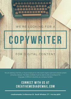 Teal Typewriter Job Vacancy Announcement - Advertising Job - Ideas of Advertising Job - Teal Typewriter Job Vacancy Announcement Advertising Industry, Advertising Strategies, Advertising And Promotion, Online Advertising, Advertising Design, Job Advertisement, Job Ads, Hiring Poster, Marketing Data
