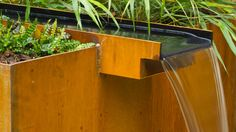 Imgs For > Corten Steel Retaining Wall Landscape Materials, Landscape Plans, Landscape Design, Steel Retaining Wall, Corten Steel, Water Pond, Water Garden, Natural Swimming Ponds, Contemporary Garden Design