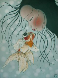 orange - child with goldfish - painting Poh Ling Yeow Art And Illustration, Illustrations, Koi, Album Jeunesse, Pop Surrealism, Fish Art, Australian Artists, Whimsical Art, Goldfish