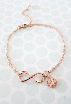 Personnalisé Rose Gold infini Bracelet charme par ColorMeMissy