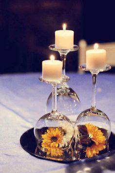 I love this idea!! Upside down wine glasses!!