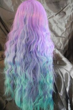 Pastel ombre hair, kinda reminds me of cotton candy :) .and now I really want cotton candy. Ombre Hair, Purple Hair, Green Hair, Periwinkle Hair, Teal Ombre, Aqua Hair, 100 Human Hair Extensions, Coloured Hair, Dye My Hair