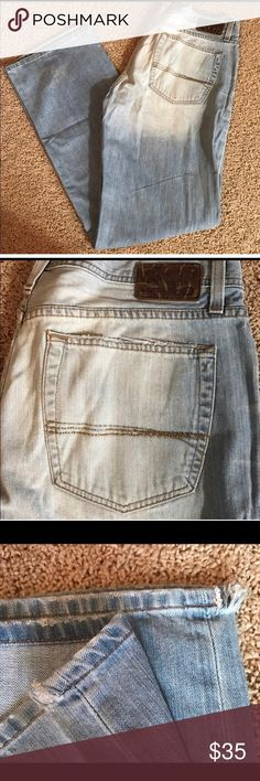 BKE Austin men's jeans 36 extra long BKE Austin men's jeans 36 extra long measurements for the jeans waist 18 inches, rise 11 inches and length 36 inches. Please take notice in the third picture there are tiny little slit made on the inseam of the pants. BKE Jeans Straight