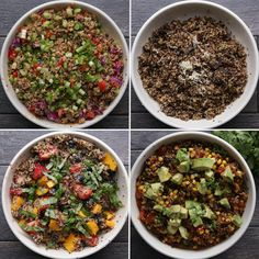 Mushroom And Garlic Quinoa Salad, Southwestern-style Quinoa Salad, Thai Quinoa Salad and Summer Fruit Quinoa Salad