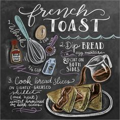 Lily & Val - French toast recipe - French toast recipe at Posterlounge ✔ Affordable shipping ✔ Secure payment ✔ Various material - Blackboard Art, Chalkboard Print, Chalkboard Lettering, Chalkboard Designs, Chalkboard Art Kitchen, Chalkboard Drawings, Chocolate Cookie Recipes, Easy Cookie Recipes, Chalk It Up