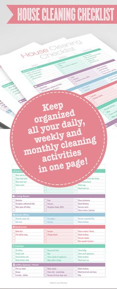 Modern One Page House Cleaning Checklist - Instant Download! PDF format ready to edit or print at home!