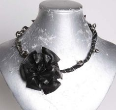 leather rose wrap necklace (with silver tone hardware) nrrose-101 black lamb skin leather rose black lamb skin stem silver tone spikes (thorns) dirty oxidized chain (black) lobster snap closure