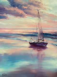 Sailing art original oil painting colorful - Hobbies paining body for kids and adult Seascape Paintings, Oil Painting Abstract, Body Painting, Landscape Art, Landscape Paintings, Sailboat Painting, Boat Art, Painting Inspiration, Sailing Boat