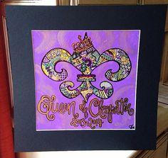 Mardi Gras Fleur de lis-- 12x12 Thin Canvas on Etsy, $60.00