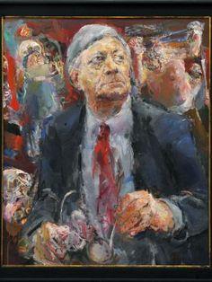 """Gemälde """"Atelierbesuch"""" von Bernhard Heisig mit dem Bildnis von Helmut Schmidt."""