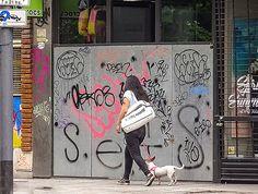FOTOS SIN PORQUE: Fotografías de la calle.  Cityscape, fotografía callejera, gente en el paisaje, imágenes urbanas, mujer con mascota, street photography, verano