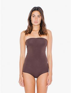 2016 American Apparel Cotton Spandex Strapless Ruched Bodysuit