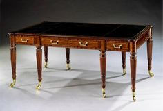 Regency mahogany library table, attributed to John Syers