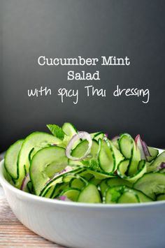 Cucumber Mint Salad with Red Onion and Thai Dressing  www.flavourandsavour.com