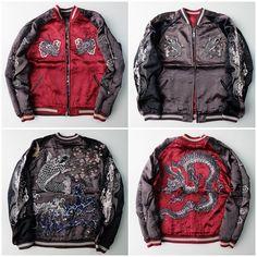 Japanese Japan Classic SCRIPT Hokusai Sakura Koi Dragon Sukajan Souvenir Jacket - Japan Lover Me Store
