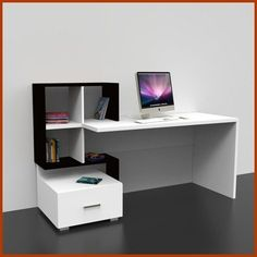No need to attach to wall. Self-supporting. Home Office Design, Home Office Decor, House Design, Home Decor, Modern Office Desk, Office Table, Diy Furniture, Modern Furniture, Furniture Design
