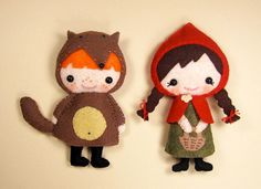 Little Red and her Wolf crafted in felt. Who wants to make these for me? Check link for pattern!