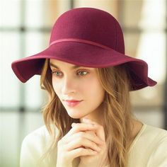 Fashion wool floppy hat for women packable wide brim felt hats winter wear d8cebf69dd3e