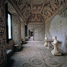 Italy; Lombardy; Milan; Lainate; Villa Visconti Borromeo Litta. Detail. Interior nymphaeum Villa Litta decoration floor ceiling mosaic stones