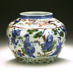 Jar (Ping) with the Eight Immortals (Baxian) China, Jiangxi Province, Jingdezhen, Chinese, Ming dynasty, Wanli mark and period, 1573-1620 Furnishings; Serviceware Wheel-thrown porcelain with underglaze blue, clear glaze, and overglaze painted enamel decoration (doucai) Height: 4 1/4 in. (10.8 cm); Diameter: 6 in. (15.2 cm) The Ernest Larsen Blanck Memorial Collection (53.41.6a) Chinese Art