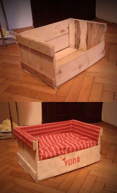 I love this idea! You can make it out of old pallets if you want! then cover it with what ever fabric you'd like. www.rlhydelabradors.com