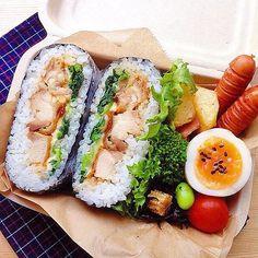 Bento Recipes, Healthy Recipes, Cute Food, Yummy Food, Onigirazu, Bento Box Lunch, Japanese Food, Japanese Lunch Box, Aesthetic Food