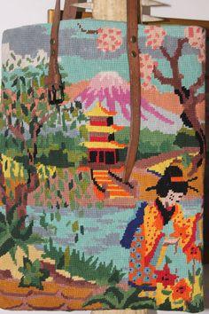 MONT FUJI  Tote bag  in vintage tapestry by QuatreJanvier on Etsy