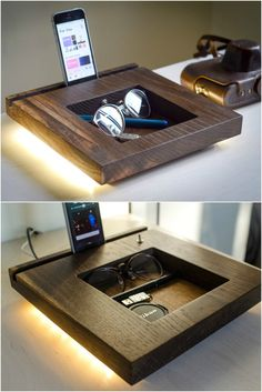 Oak Docking Station Table Lamp - Desk Lamps - Modern simple desk appliance, functional and beautiful. Docking station, lamp and organizer all in one! Never look for your stuff again, everything in it's right place! Handmade wooden organizer for everybody, has it's natural oak beauty and a device slot compatible with almost...
