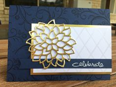 'Celebrate' Navy & Gold Card Night of Navy base 8 1/4 x 5 3/4 • Night of Navy card front 5 3/4 x 4 1/8 stamped with Night of Navy ink and Falling Flowers stamp set • Gold Foil paper 4 1/2 x 2 3/4 • Irresistibly Floral SDSP 4 3/8 x 2 1/2 • Night of Navy strip 5 1/8 x 1/2 • sentiment from Endless Birthday Wishes stamp set with White Embossing powder • Gold foil paper from May Flowers Framelits • Dimensionals • Stampin' Up! Inspired by Sketch 255 from Freshly Made Sketches