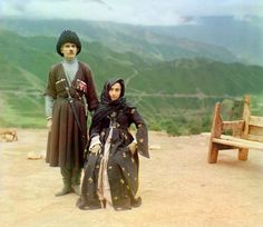 Portrait of a Dagestani Couple    A couple in traditional dress poses for a portrait in the mountainous interior region of Gunib on the north slope of the Caucasus Mountains in what is today the Dagestan Republic of the Russian Federation