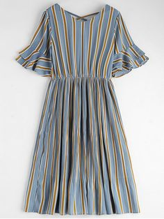 Criss Cross Stripes Pleated Midi Dress - STRIPE S..interesting