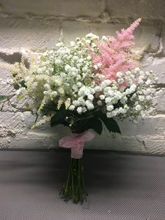 Gypsophila and pink astilbe Bridesmaids bouquet