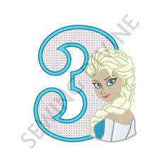 ELSA FROZEN 3rd BIRTHDAY Embroidery Design 4x4 5x7 6x10 Instant Download Cross Stitch