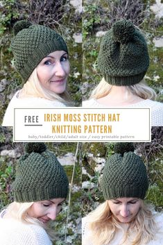 This Irish moss stitch or double moss stitch beanie hat knitting pattern is a free pattern available to make in four sizes - baby, toddler, child and adult.  #knitting #hatpatterns #hat #beanie #freepatterns