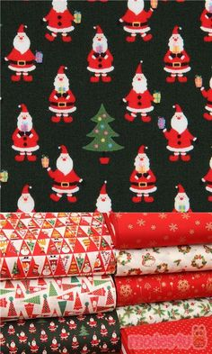 dark green cotton fabric with small Santa Claus, green Christmas trees, mini presents, Material: 100% cotton, Fabric Type: strong cotton printed sheeting fabric #Cotton #Characters #Christmas #JapaneseFabrics Xmas Tree, Christmas Trees, Christmas Ornaments, Christmas Fabric, Green Christmas, Kawaii, Green Cotton, Fabric Patterns, Cotton Fabric