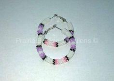 "1.5"" White Purple Pink Peyote Stitch Hoops by Prairie Breeze Creations #beadedearrings #beadedjewelry #nativeearrings #beadwork #nativejewelry #nativemade #prairiebreezecreations #prairiebreezedesign #seedbeadjewelry #nativeamerican"