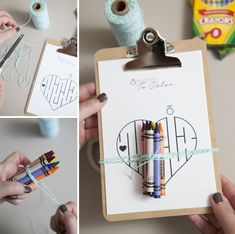 Make mini-clipboard coloring favors for the little ones attending your wedding + 6 FREE coloring page downloads!