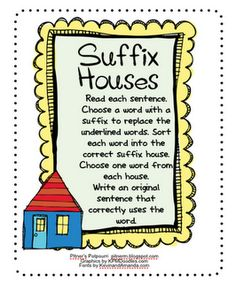 FREE Download -  Suffix Houses - a learning station activity for students to practice determining the meaning of words with suffixes