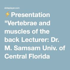 """⚡Presentation """"Vertebrae and muscles of the back Lecturer: Dr. M. Samsam Univ. of Central Florida Pictures from: K. Moore Human anatomy and Platzer atlas and text book."""""""