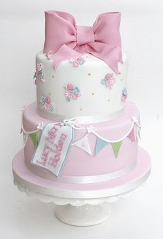 blossom and bunting cake | For a little girls christening pa… | Flickr