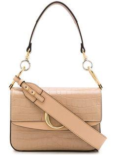 Chloé C double small shoulder bag - Neutrals Karl Lagerfeld, Small Shoulder Bag, Shoulder Strap, Chloe Bag, Cute Bags, Leather Accessories, Plaque, Logos, Calf Leather
