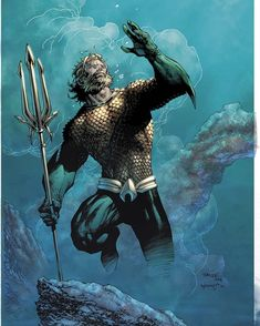 Aquaman, by Jim Lee Aquaman Dc Comics, Arte Dc Comics, Fun Comics, Marvel Fanart, Marvel Dc, Marvel Comics, Superhero Characters, Dc Comics Characters, Comic Book Artists