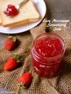 Make some easy microwave strawberry jam in flat 10 minutes. You just need 3 ingredients and no preservatives too. Its that easy! Jam Recipes, Dessert Recipes, Cookbook Recipes, Strawberry Jam Recipe, Quick Easy Desserts, How To Make Jam, Microwave Recipes, International Recipes, 3 Ingredients
