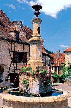 village square in autoire - tarn, france.