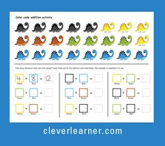 Color codes for addition is alway fun and get children to be more engaged and alert. Have fun Addition Activities, Addition Worksheets, Number Activities, Parenting Plan, Foster Parenting, Early Learning, Pre School, First Grade, Kindergarten